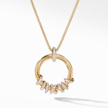 Helena Round Pendant Necklace in 18K Yellow Gold with Diamonds