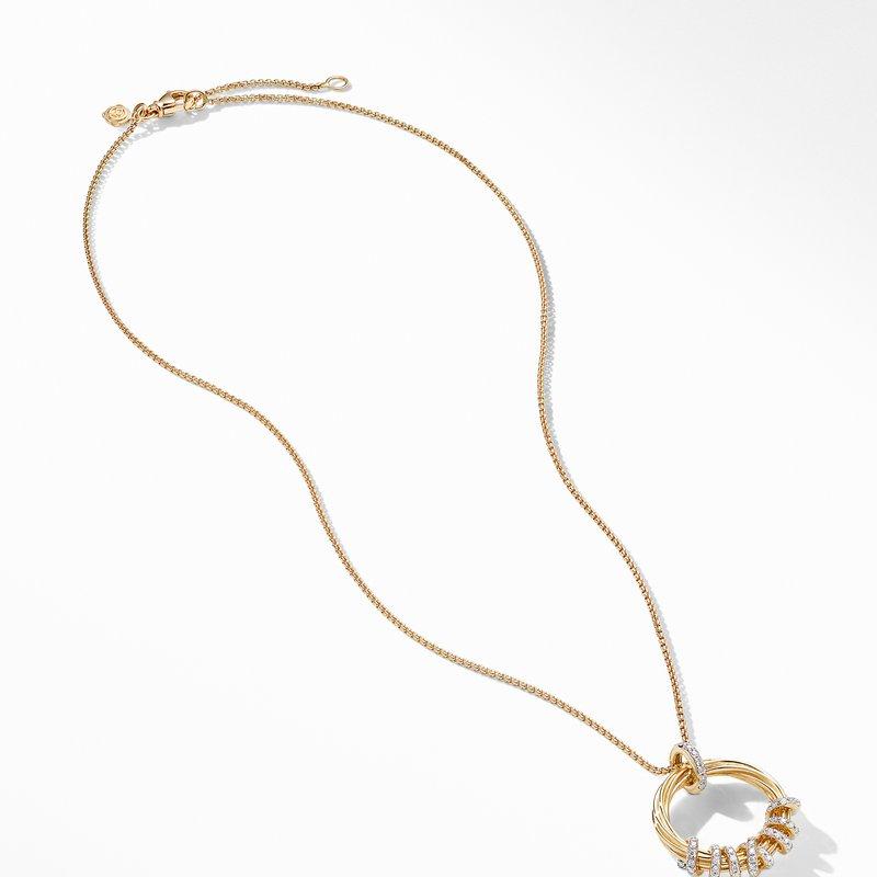 David Yurman Helena Round Pendant Necklace in 18K Yellow Gold with Diamonds