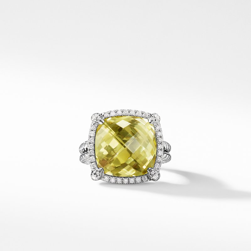 David Yurman Chatelaine Pave Bezel Ring with Lemon Citrine and Diamonds, 14mm
