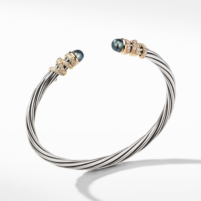 David Yurman Helena End Station Bracelet with Gray Pearls, Diamonds and 18K Gold, 4mm