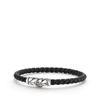 Chevron Woven Rubber Bracelet in Black