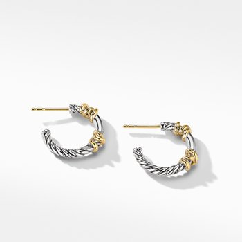 Petite Helena Hoop Earrings with 18K Yellow Gold and Diamonds
