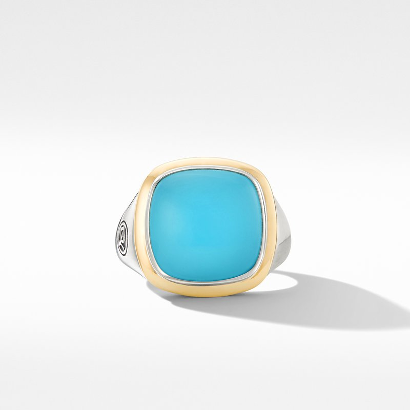 David Yurman Albion® Ring with Reconstituted Turquoise and 18K Yellow Gold