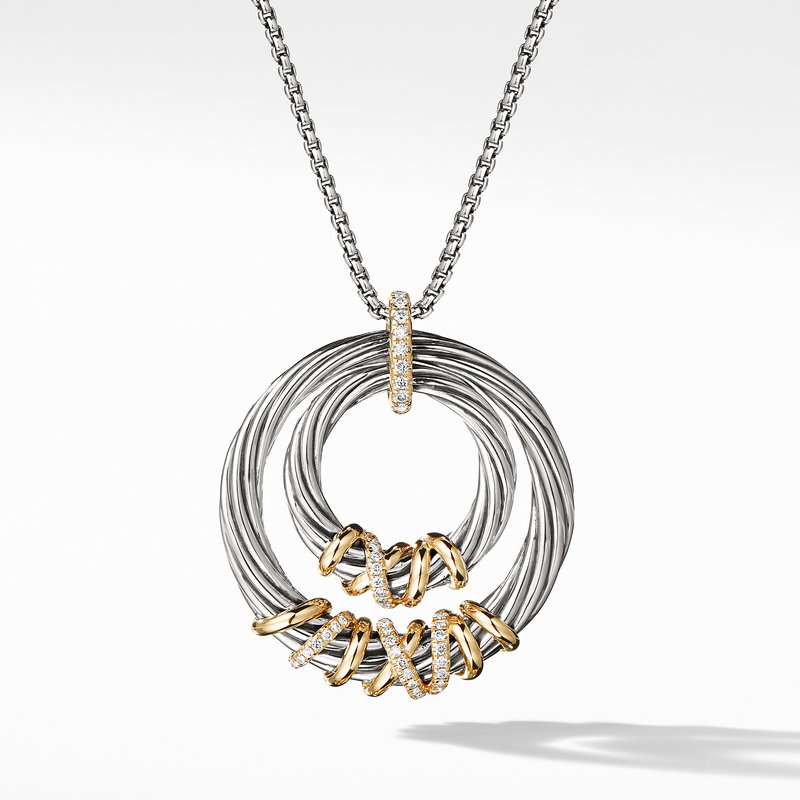 David Yurman Helena Pendant Necklace with 18K Gold and Diamonds