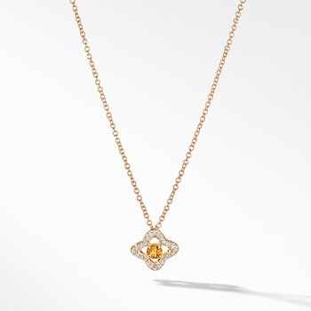 Venetian Quatrefoil® Necklace with Citrine and Diamonds in 18K Gold