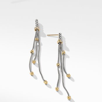 Petite Helena Chain Drop Earrings with 18K Yellow Gold and Diamonds