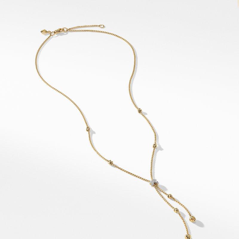 David Yurman Petite Helena Y Necklace in 18K Yellow Gold with Diamonds