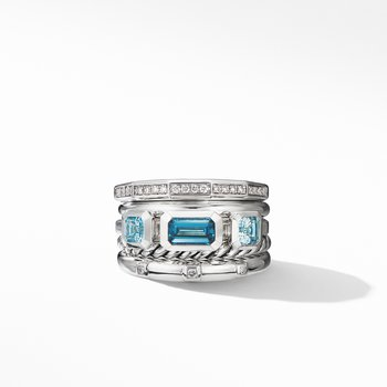 Stax Wide Ring with Hampton Blue Topaz and Diamonds