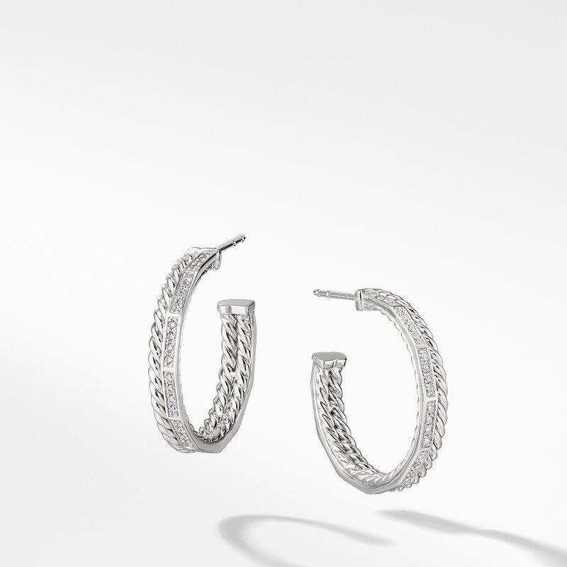 David Yurman Stax Hoop Earrings with Diamonds in 18K White Gold