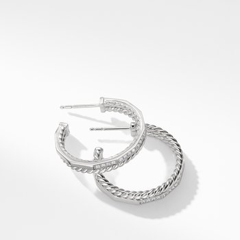 Stax Hoop Earrings with Diamonds in 18K White Gold