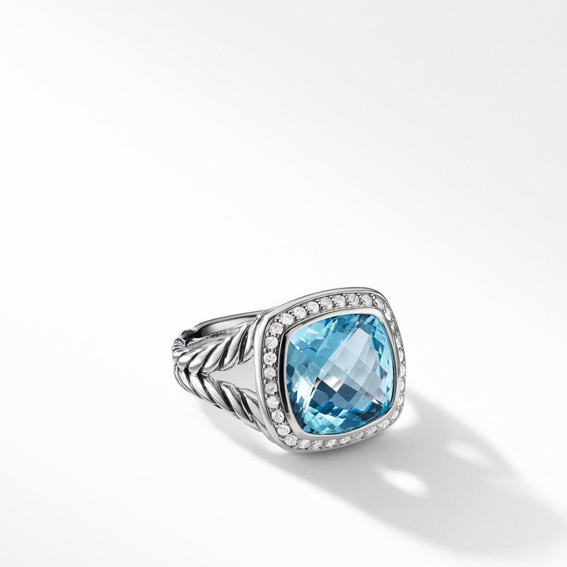 David Yurman Ring with Blue Topaz and Diamonds