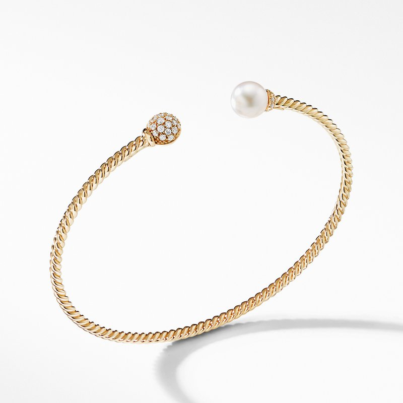 David Yurman Petite Solari Bead and Pearl Bracelet with Diamonds in 18K Gold