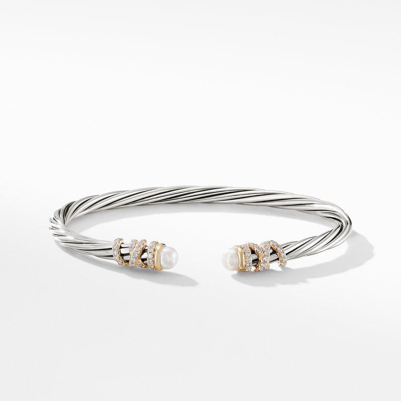David Yurman Helena End Station Bracelet with Pearls, Diamonds and 18K Gold, 4mm