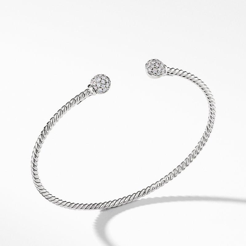 David Yurman Petite Solari Bead Bracelet with Diamonds in 18K White Gold