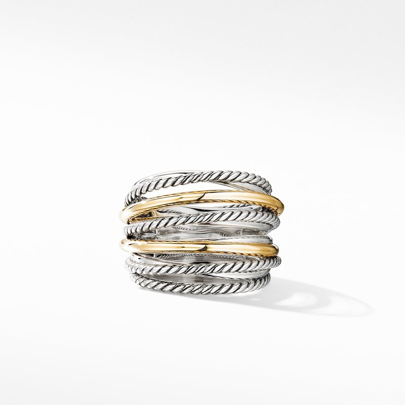 David Yurman Crossover Wide Ring with 18K Yellow Gold