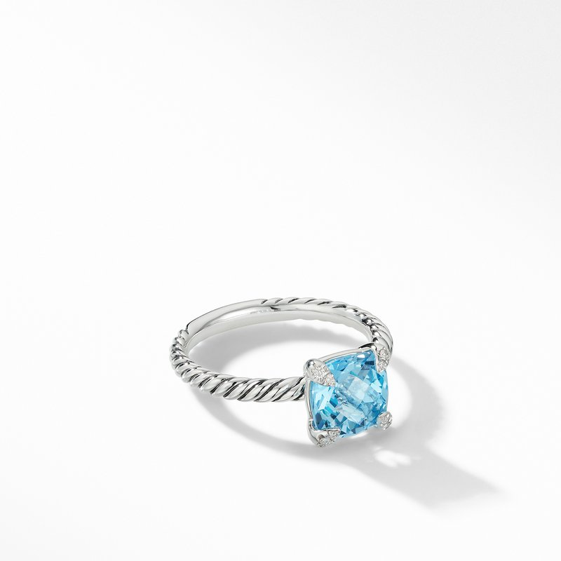 David Yurman Chatelaine® Ring with Blue Topaz and Diamonds