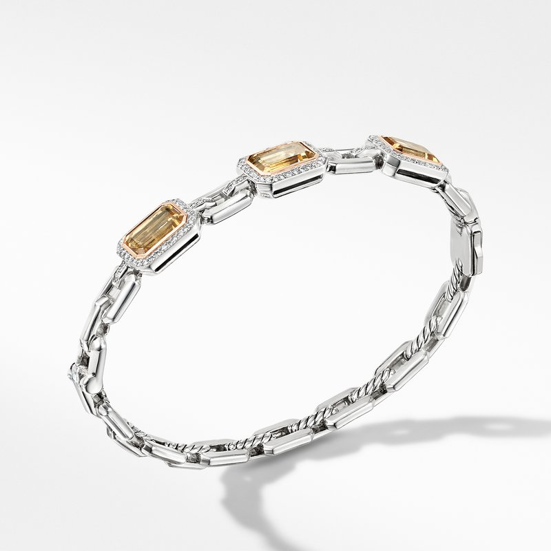 David Yurman Novella Three Stone Bracelet with Champagne Citrine, Pavé Diamonds and 18K Rose Gold