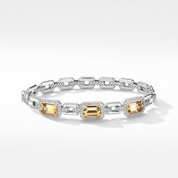 Novella Three Stone Bracelet with Champagne Citrine, Pavé Diamonds and 18K Rose Gold