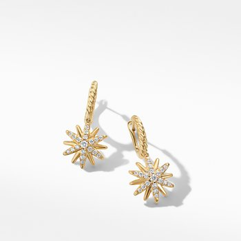 Starburst Drop Earrings in 18K Yellow Gold with Pavé Diamonds
