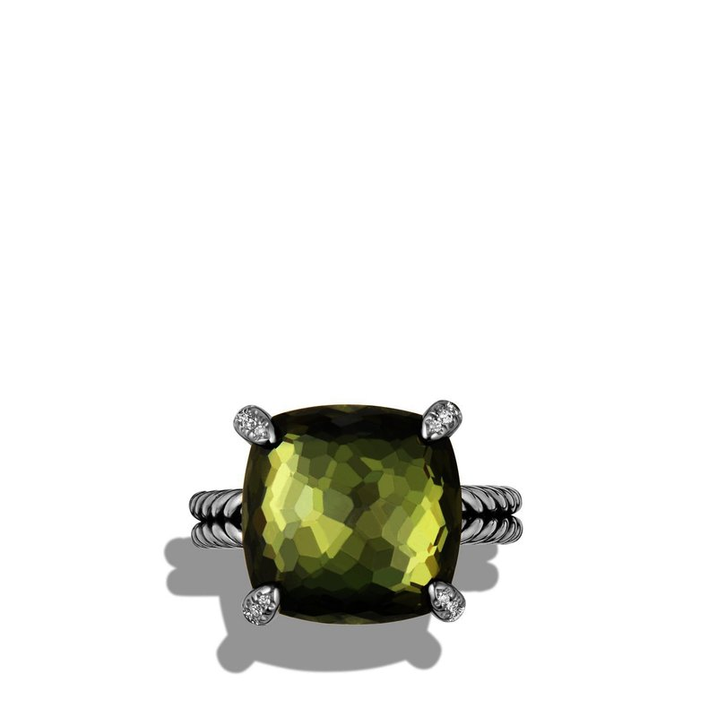 David Yurman Ring with Green Orchid and Diamonds
