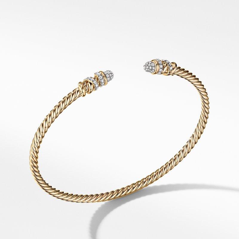 David Yurman Petite Helena Bracelet in 18K Yellow Gold with Diamonds