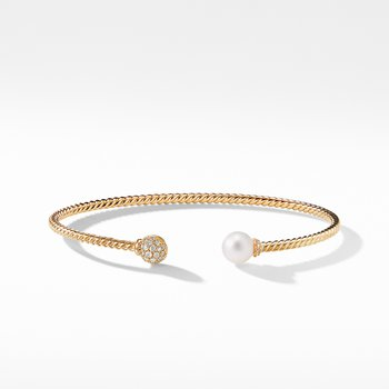 Petite Solari Bead and Pearl Bracelet with Diamonds in 18K Gold