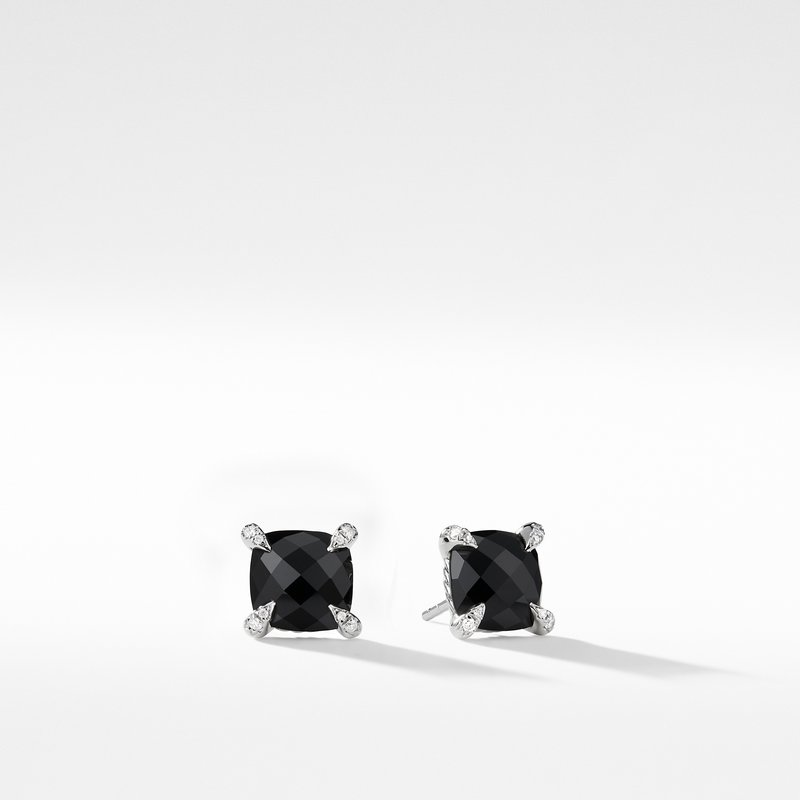 David Yurman Chatelaine® Stud Earrings with Black Onyx and Diamonds mm