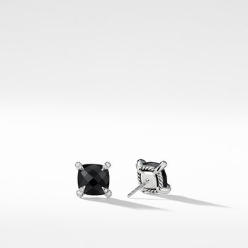 Chatelaine® Stud Earrings with Black Onyx and Diamonds mm