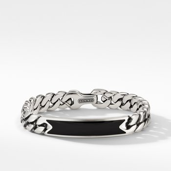 Curb Chain ID Bracelet with Black Onyx