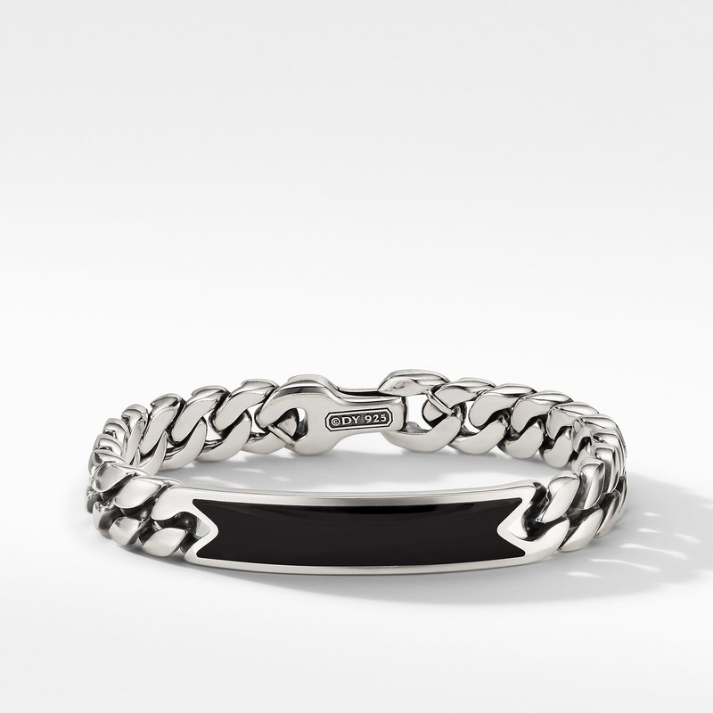 David Yurman Curb Chain ID Bracelet with Black Onyx