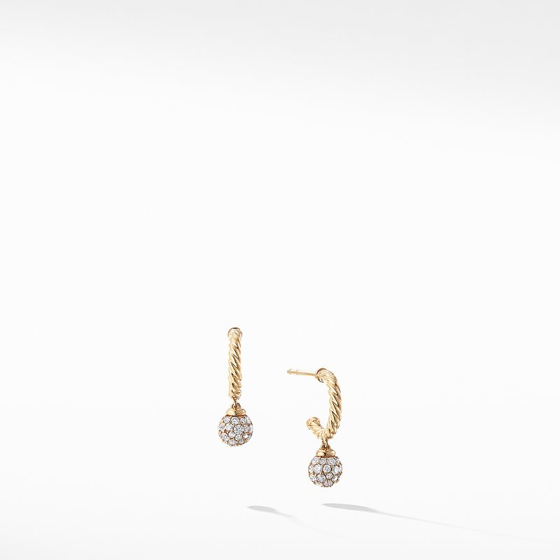 David Yurman Petite Solari Hoop Pave Earrings with Diamonds in 18K Gold