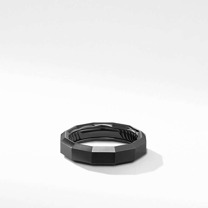 David Yurman Faceted Band Ring in Black Titanium