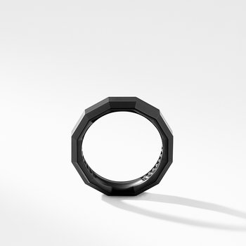 Faceted Band Ring in Black Titanium