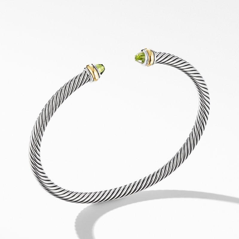 David Yurman Cable Classic Bracelet with Peridot and 18K Yellow Gold