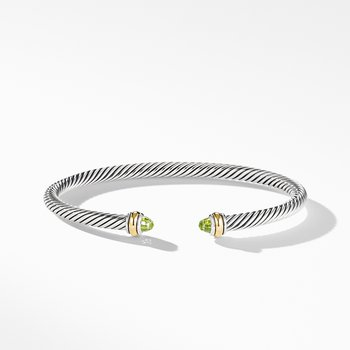 Cable Classic Bracelet with Peridot and 18K Yellow Gold