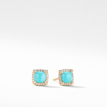 Petite Chatelaine® Pavé Bezel Stud Earrings in 18K Yellow Gold with Turquoise