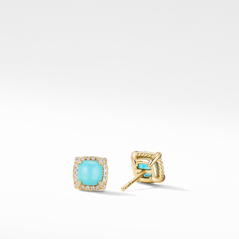 David Yurman Petite Chatelaine® Pavé Bezel Stud Earrings in 18K Yellow Gold with Turquoise