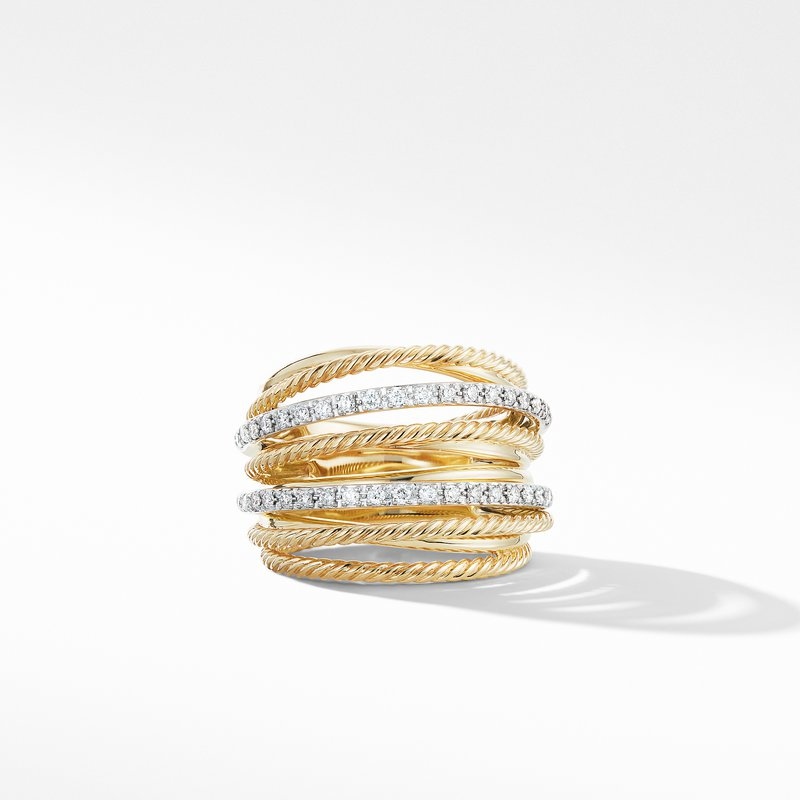 David Yurman Crossover Wide Ring in 18K Yellow Gold with Diamonds