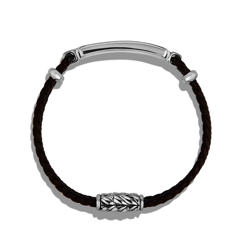 David Yurman Station Brown Leather Bracelet with Tiger Eye