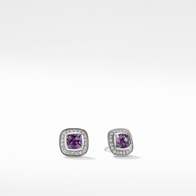 David Yurman Petite Albion Earrings with Amethyst and Diamonds