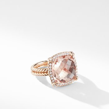 Chatelaine Pavé Bezel Ring in 18K Rose Gold with Morganite
