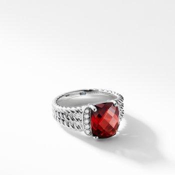 Petite Wheaton Ring with Garnet and Diamonds