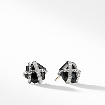 Cable Wrap Earrings with Black Onyx and Diamonds