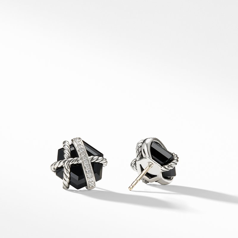 David Yurman Cable Wrap Earrings with Black Onyx and Diamonds