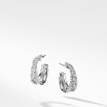 Pavéflex Petite Hoop Earrings with Diamonds in 18K White Gold