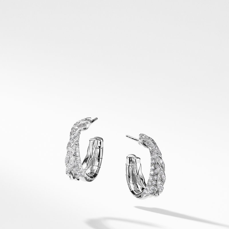 David Yurman Pavéflex Petite Hoop Earrings with Diamonds in 18K White Gold