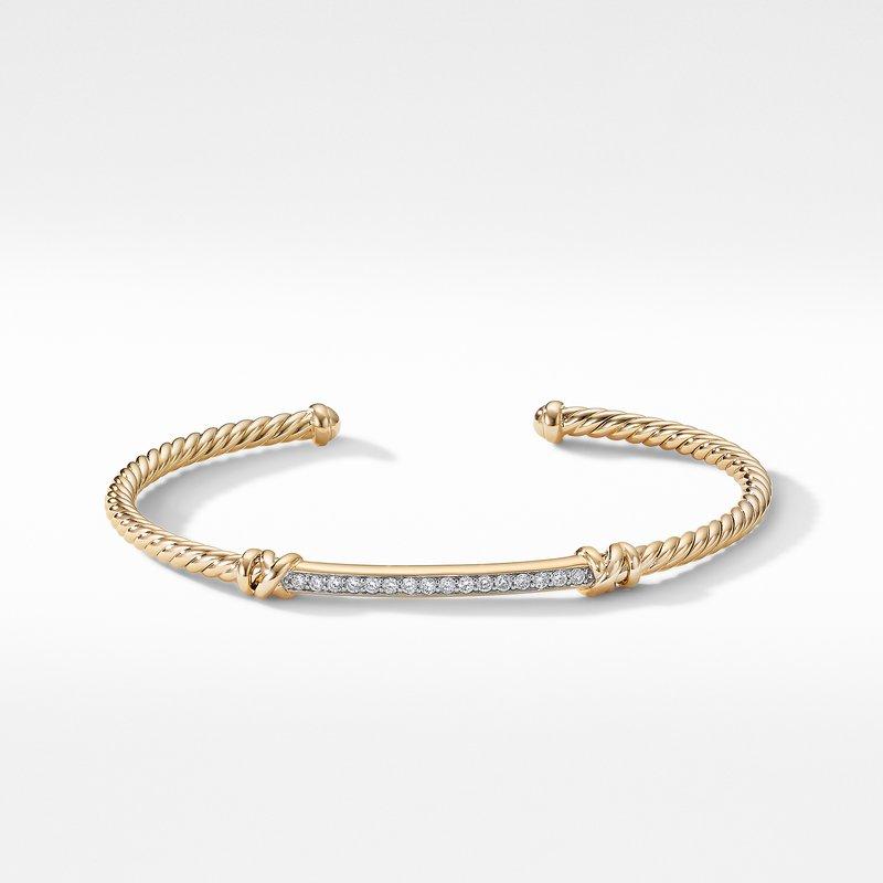 David Yurman Petite Helena Two Station Wrap Bracelet in 18K Yellow Gold with Diamonds