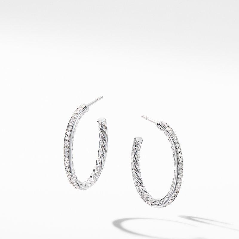 David Yurman Small Hoop Earrings with Pavé Diamonds