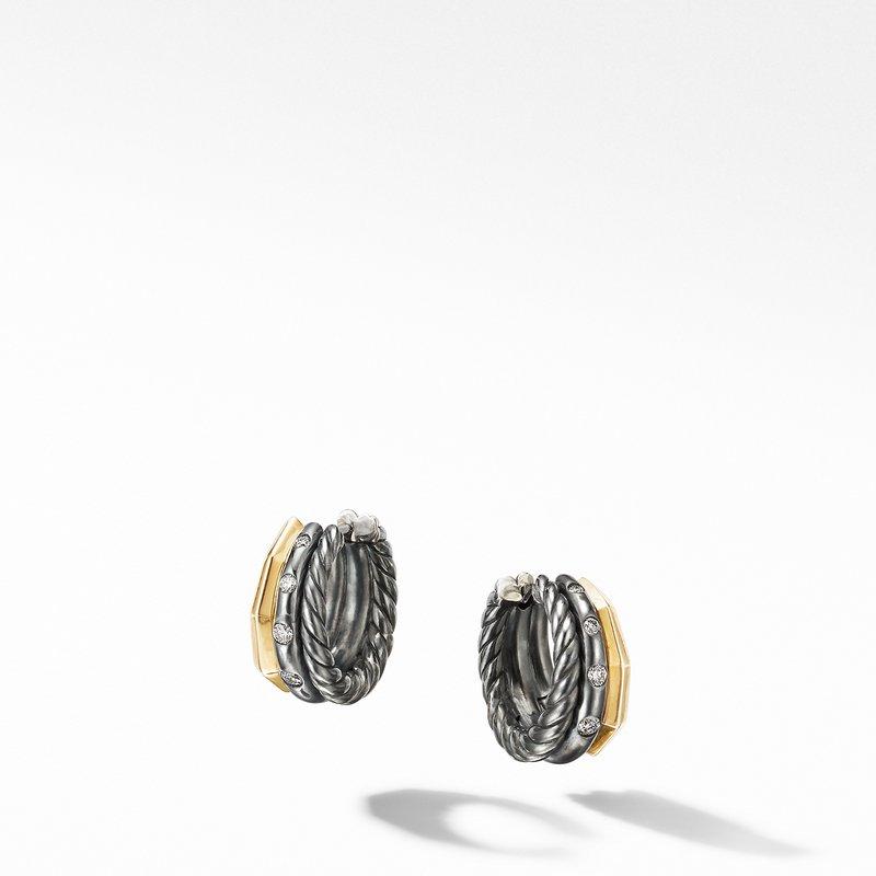 David Yurman Stax Huggie Hoop Earrings in Blackened Silver with Diamonds