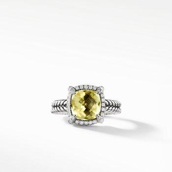 Chatelaine Pave Bezel Ring with Lemon Citrine and Diamonds, 9mm